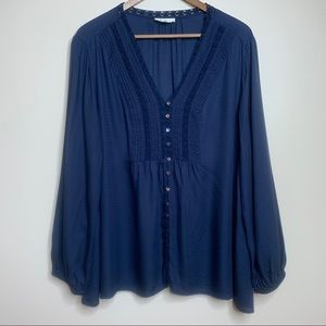 3/$20 Style & Co Navy Textured Button Front Blouse